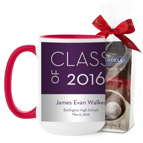 Modern Grad Mug, Red, with Ghirardelli Premium Hot Cocoa, 15 oz, Purple