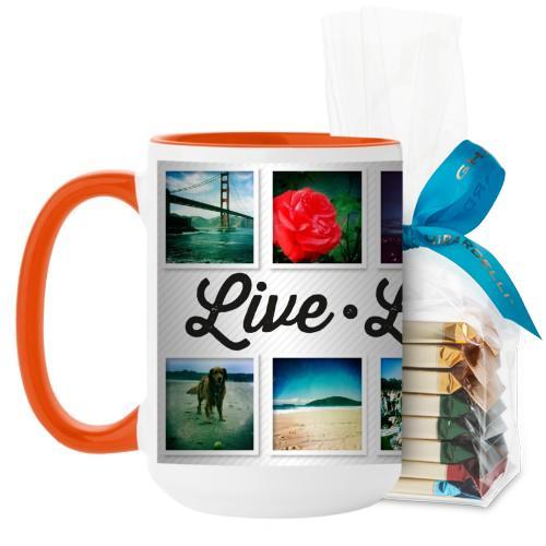 Live Laugh Love Mug, Orange, with Ghirardelli Assorted Squares, 15 oz, White