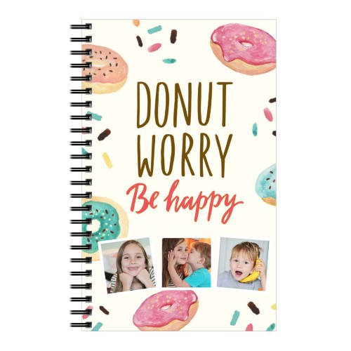 Donut Worry Be Happy 5x8 Notebook, 8x5, White