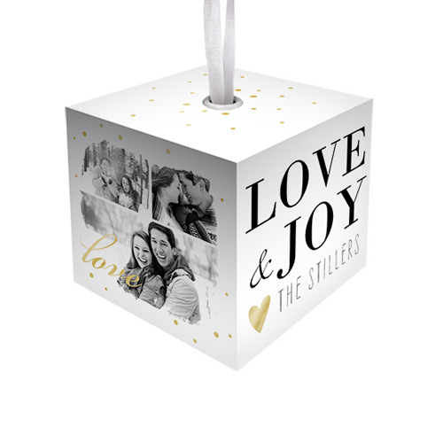 Love & Joy Cube Ornament, White, Cube