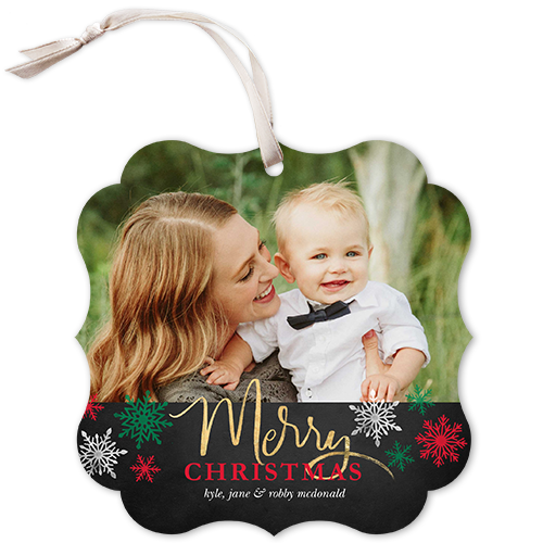 Classic Merry Snowflakes Christmas Card