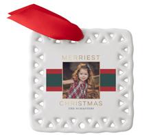 contemporary christmas ribbon ceramic ornament