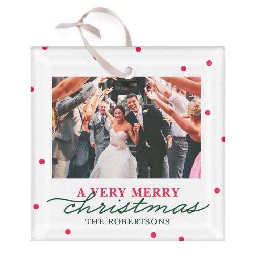 Very Merry Christmas Collage Glass Ornament, White, Square