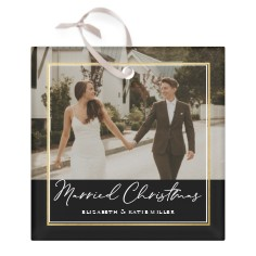married christmas glass ornament