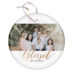 script blessed glass ornament
