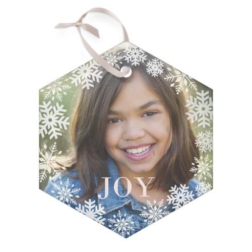 Bokeh Snowflakes Glass Ornament