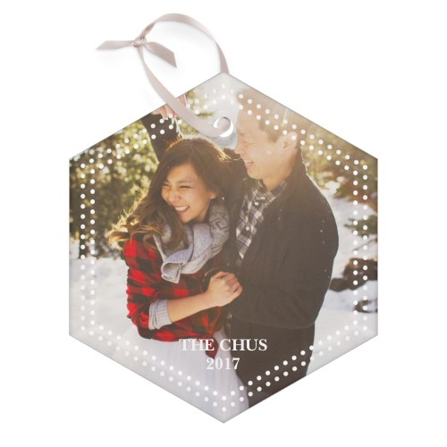 Double Dot Border Hexagon Glass Ornament