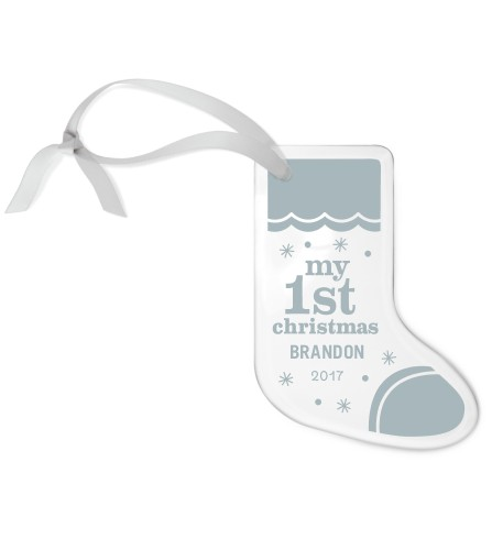 First Star Etched Glass Ornament, White, Stocking