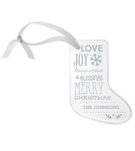 Blessed Christmas Etched Glass Ornament, White, Stocking