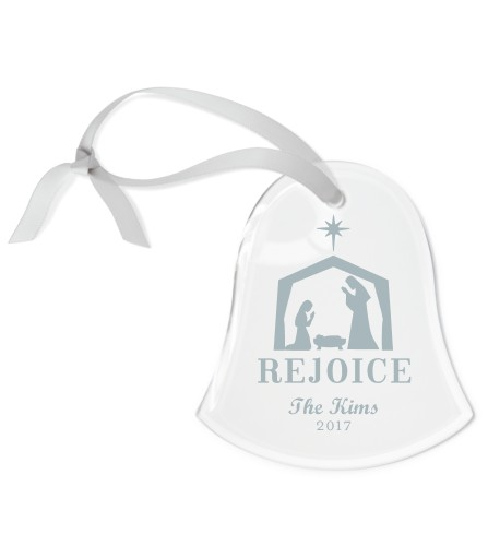 Nativity Etched Glass Ornament, White, Bell