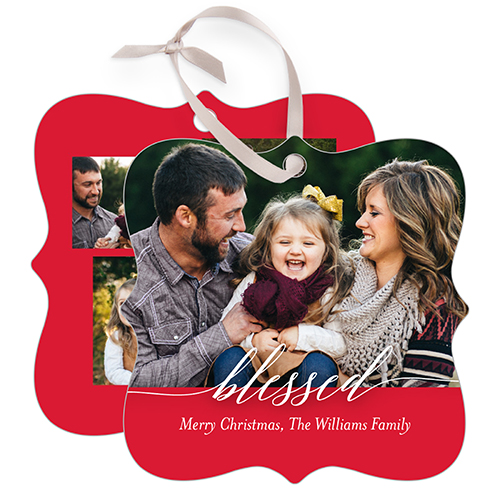 Blessed Script Rectangle Metal Christmas Ornament  Shutterfly