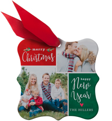 classic christmas collage metal ornament