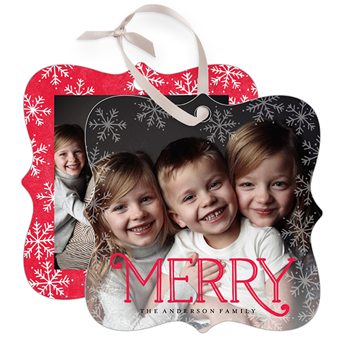 Merry Snowflake Bokeh Snowflake Metal Ornament, Red, Square_Bracket