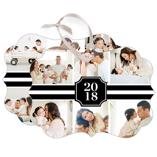 Black and White Collage Rectangle Metal Ornament