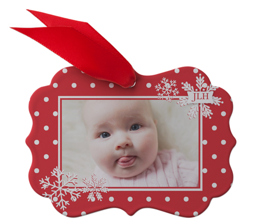 Baby's First Christmas Metal Ornament, Red, Rectangle_Bracket