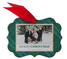 merry christmas green plaid metal ornament