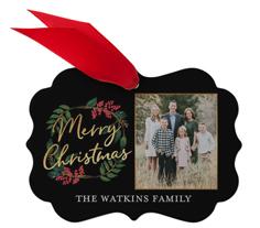 merry christmas wreath metal ornament