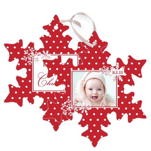 Baby's First Christmas Metal Ornament, Red, Snowflake