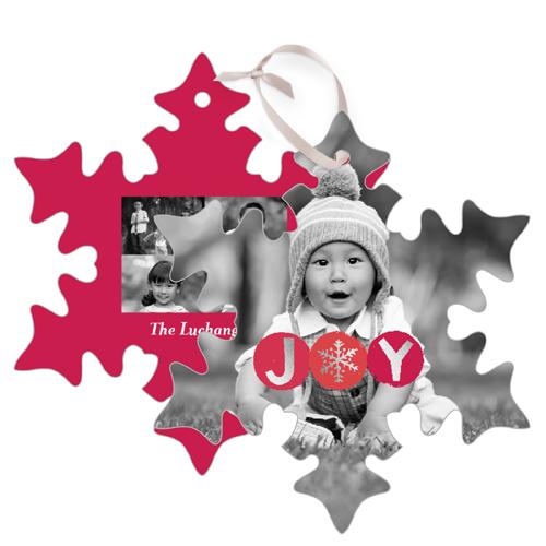 Joy Circles Metal Ornament, Red, Snowflake