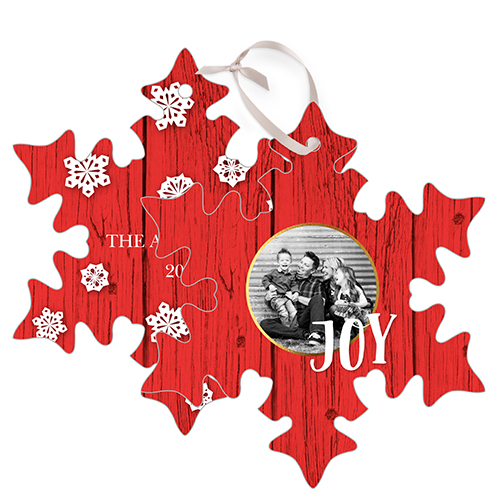 Snowflake Joy Metal Ornament, Red, Snowflake