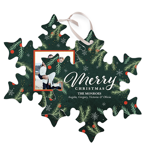 Merry Foliage Snowflake Metal Ornament, Green, Snowflake