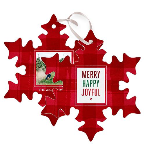 Merry Plaid Snowflake Metal Ornament, Red, Snowflake