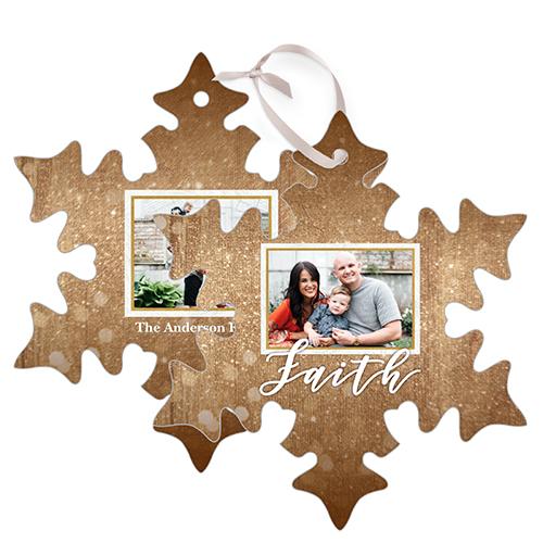 Sparkle Faith Snowflake Metal Ornament, Brown, Snowflake