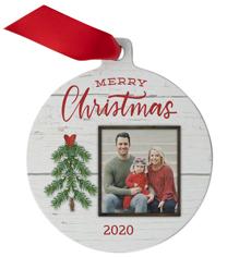 rustic merry christmas tree metal ornament