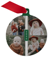 year vertical collage metal ornament