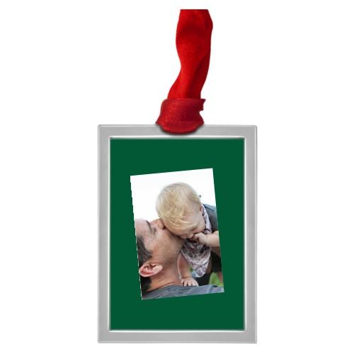Tilty Framed Vertical Pewter Ornament, White, Rectangle