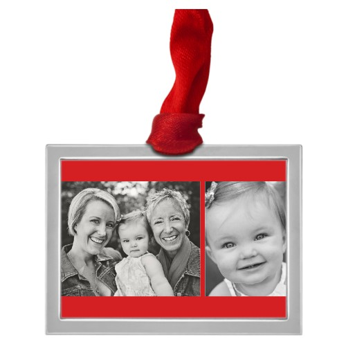 Gallery of Two Stripes Pewter Ornament, Red, Rectangle