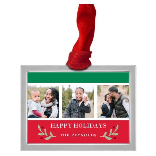 Classic Christmas Collage Pewter Ornament, Red, Rectangle