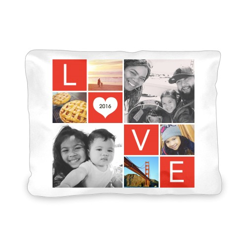 LOVE Collage Outdoor Pillow, Pillow (Navy), 12 x 16, Single-sided, Red