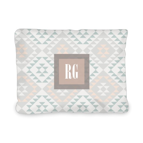 Aztec Monogram Outdoor Pillow, Pillow (Ivory), 12 x 16, Single-sided, Grey