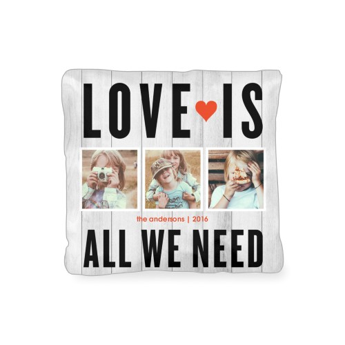 Love Is All We Need Outdoor Pillow, Pillow (Black), 16 x 16, Single-sided, Grey