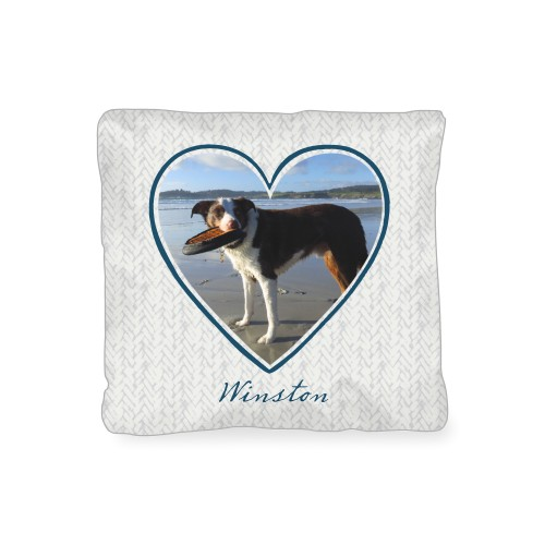 Brushed Heart Outline Outdoor Pillow, Pillow (Navy), 16 x 16, Single-sided, Grey