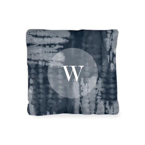 Shibori Monogram Outdoor Pillow, Pillow (Taupe), 16 x 16, Single-sided, Blue