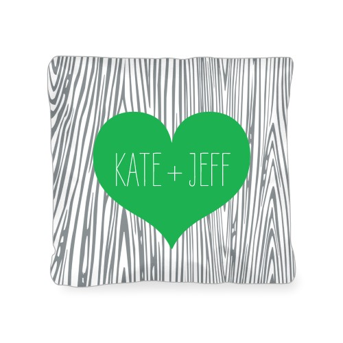 Heart And Woodgrain Outdoor Pillow, Pillow (Black), 18 x 18, Single-sided, Green