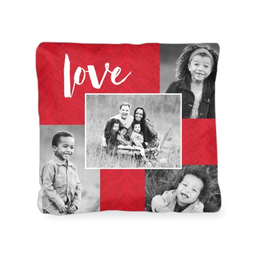 Love Texture Collage Outdoor Pillow, Pillow (Black), 18 x 18, Single-sided, Red