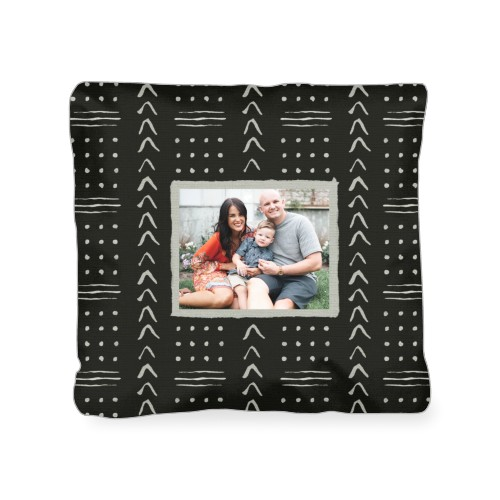 Black Aztec Outdoor Pillow, Pillow (Ivory), 18 x 18, Single-sided, Black