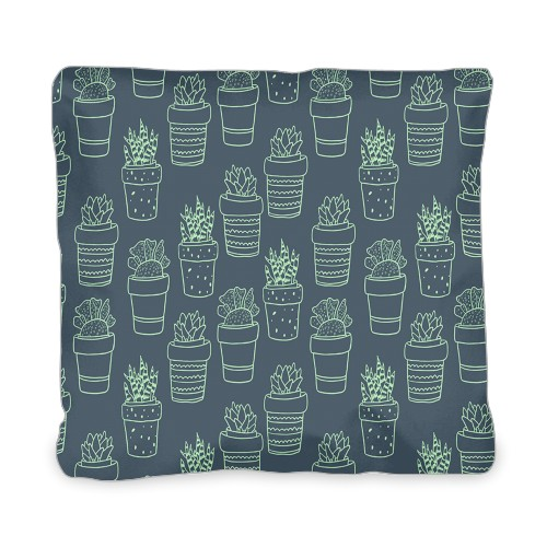 Outline Succulent Outdoor Pillow, Pillow, 20 x 20, Double-sided, Multicolor