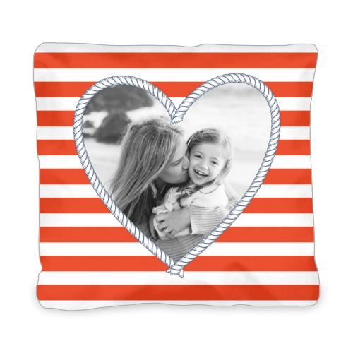 Heart Rope Outdoor Pillow, Pillow, 20 x 20, Double-sided, Red