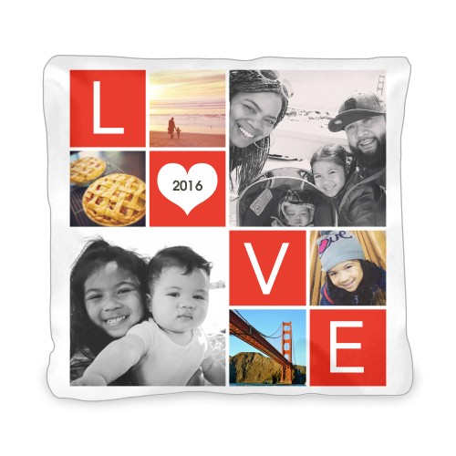 LOVE Collage Outdoor Pillow, Pillow (Black), 20 x 20, Single-sided, Red