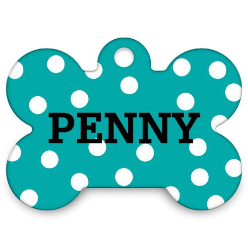 Polka Dots Bone Pet Tag, DynamicColor
