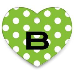 polka dots heart pet tag