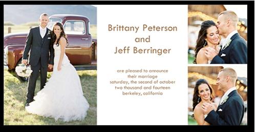 Divine Wedding Announcement, Square Corners