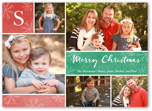 Simple Grid Monogram Christmas Card, Square Corners