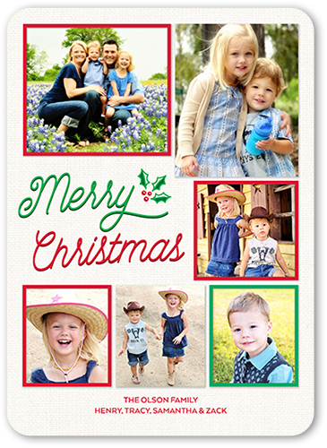 Simple Merry Berry Christmas Card, Rounded Corners