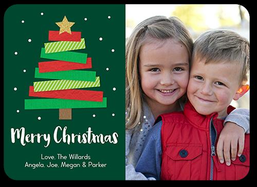 Modern Kraft Tree Christmas Card, Rounded Corners