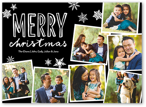 Basic Merry Collage Christmas Card, Square Corners